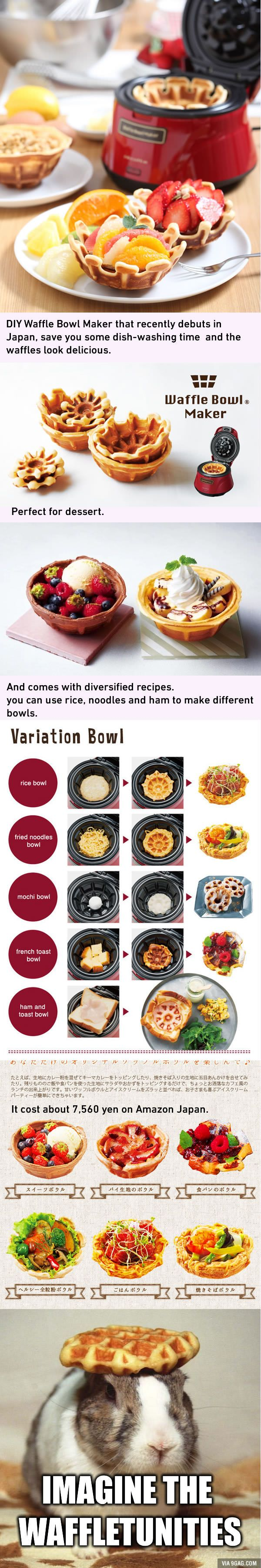 Imagine The Waffletunities! Japan Invented Waffle Bowl Maker - 9GAG