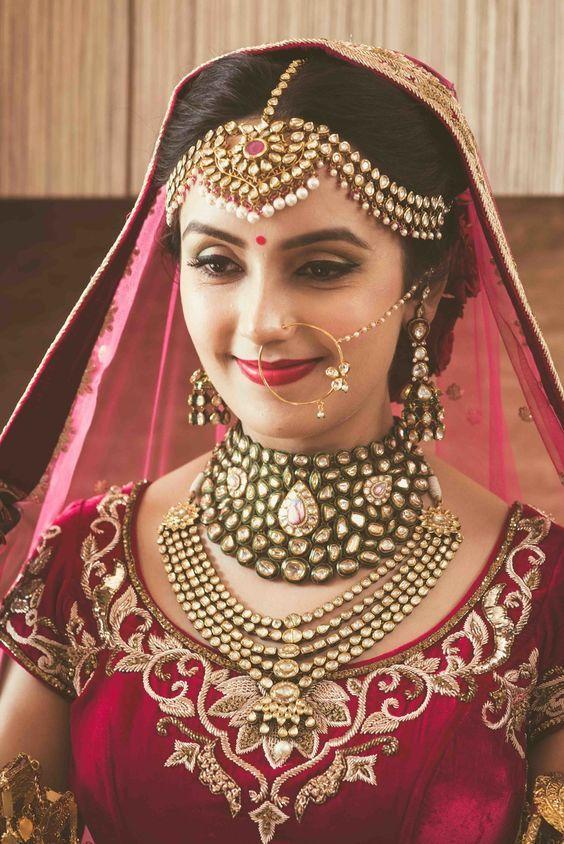 Indian Wedding Jewelry – Polki Jewelry | WedMeGood | Polki, Ruby and Pearl Matha Patti with a Polki Choker Necklace and a Polki Haar