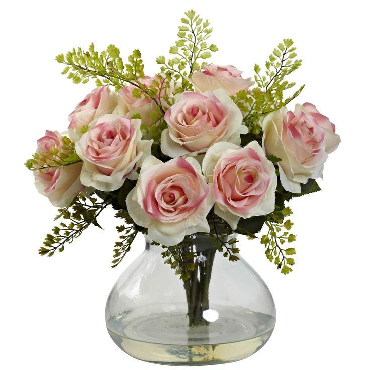 Nearly Natural Rose (Pink) & Maiden Hair Arrangement w/Vase