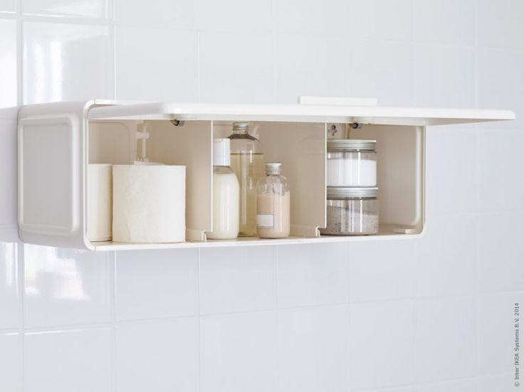 LEJEN skåp kan hängas både vågrätt och lodrätt på badrumsväggen.