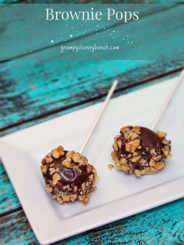 Easy Fudge Brownie Pops - a perfect Valentine gift for chocolate lovers.  Don't love nuts or allergic?  Decorate with Valentine Sprinkles!