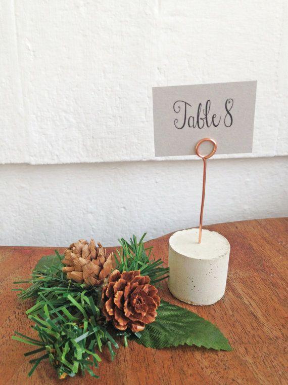 Set of 10 Copper Wire & Cement Place Card Holder by EttaAndOdie