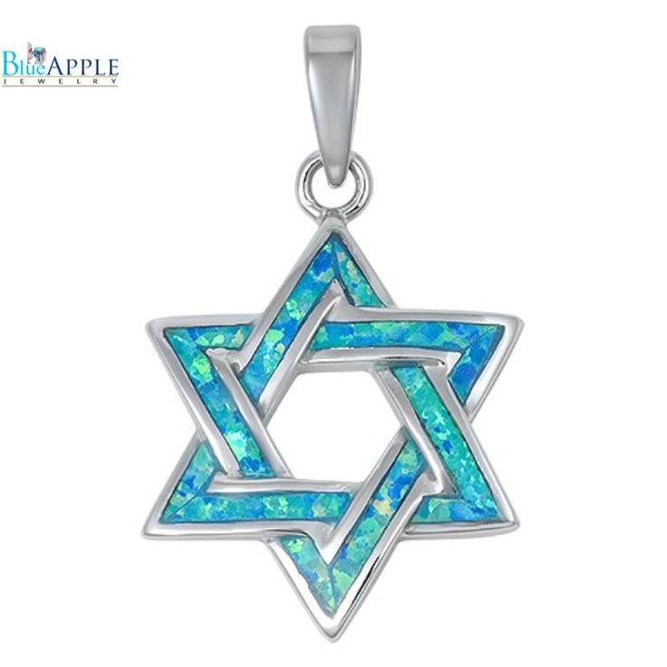 "1.1"" Star Of David Jewish Star Pendant Charm Solid 925 Sterling Silver Lab Blue Australian Turquoise Opal Jewish Star of David Jewelry"