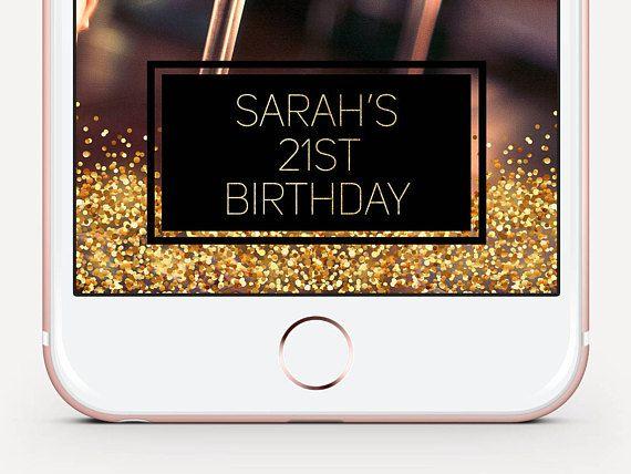 Birthday Snapchat Geofilter Gold Glitter Birthday Geofilter