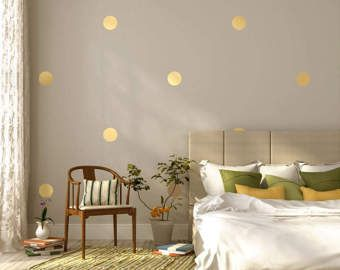Metallic Gold Wall Decals Polka Dot Wall Sticker Decor