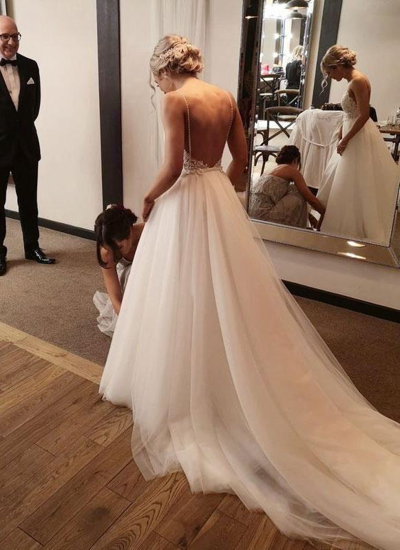 Elegant Spaghetti Straps Court Train Wedding Dresses Bridal Gown