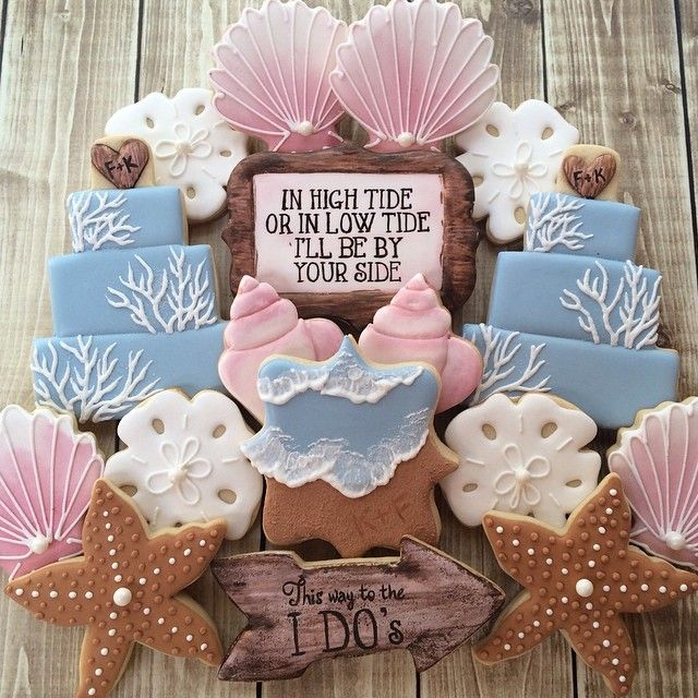 Beach themed wedding cookies