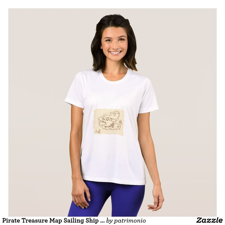 Pirate Treasure Map Sailing Ship Drawing T-Shirt. Ladies t-shirt showing a sketch style illustration of a pirate treasure map and sailing ship set on isolated background. #treasuremap #map #tshirt