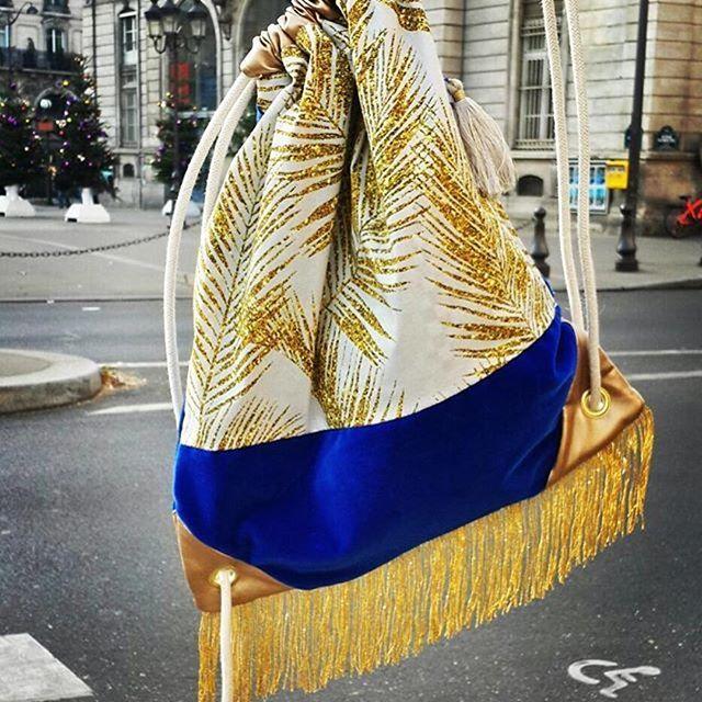 Fabric design by MirabellePrint, drawstring bag by Lulu Baluloo