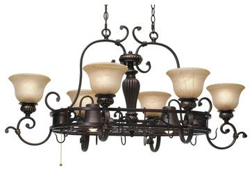 Jefferson 8-Light Pot Rack - traditional - pot racks - Carolina Rustica  This chandelier with old-world charm has an enlightened purpose. While the glow of lights illuminates your kitchen, the bronze pot rack provides easy access to your cookware and utensils.