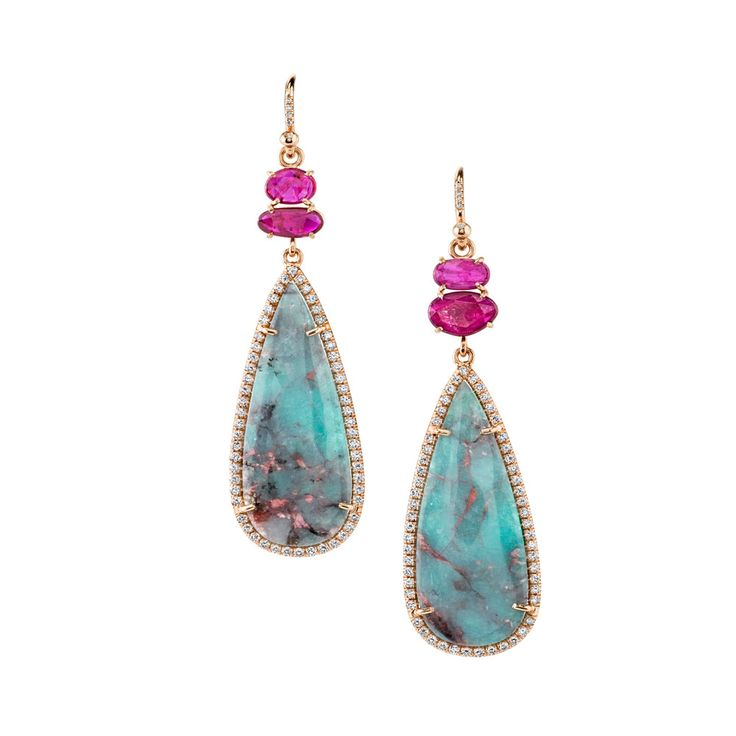 and trendy costume Tourmaline Kind Earrings wholesale Pave  of Rubies  Diamond a One jewelry Paraiba with