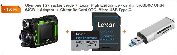 Olympus TG-Tracker verde + Lexar High Endurance – card microSDXC UHS-I 64GB + Adaptor + Cititor De Card OTG, Micro USB Type C