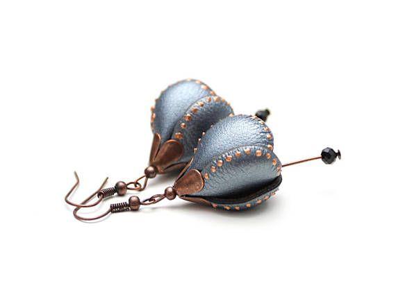 Flower Leather Earring Silver Metallic Paint Dots