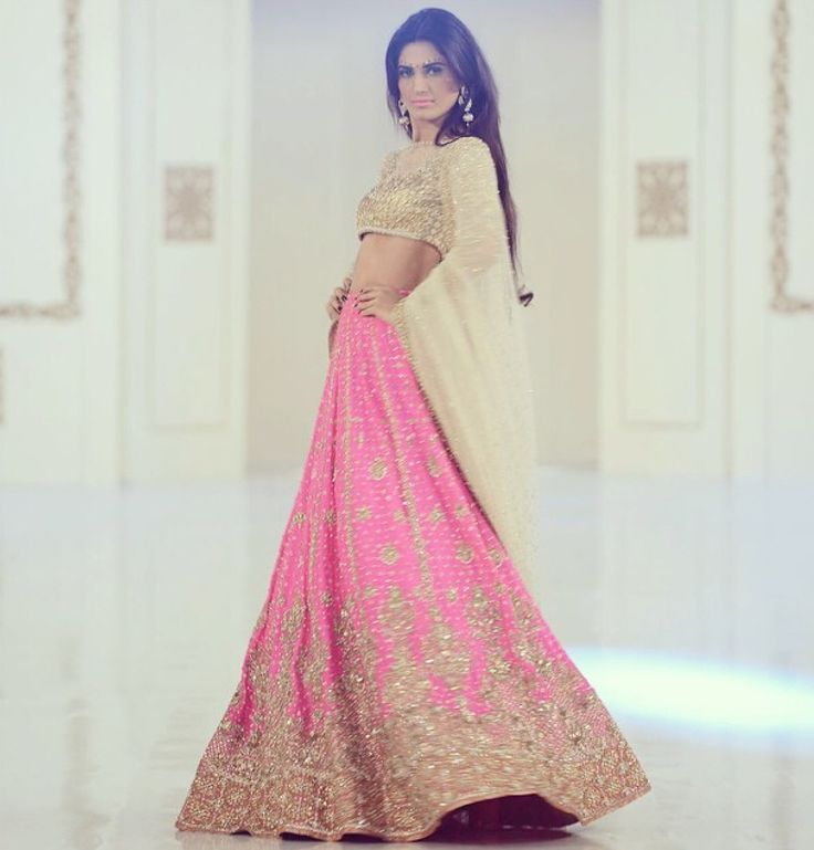 What a fun pink color!!!!Gorgeous #Desi #Lehenga from www.FarazManan.com Lyallpur bridal collection