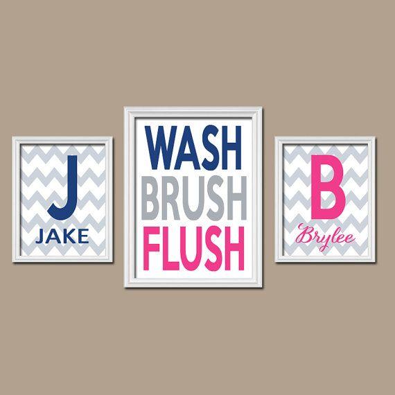 Brother Sister Child Name Monogram Initial Bath Navy Blue Hot Pink WASH Brush Flush Chevron Set of 3 Trio Prints WALL ART Boy Girl Bathroom on Etsy, $32.00