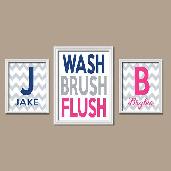 Brother Sister Wall Art Bathroom Name Monogram Initial Bath Navy Blue Hot Pink WASH Brush Chevron Set of 3 Trio Prints Bathroom