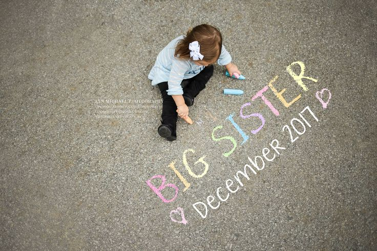 ©LynMichaelphotography #pregnancy #pregnant #announcement #prego #photography #bigsister #family #chalk #quotes