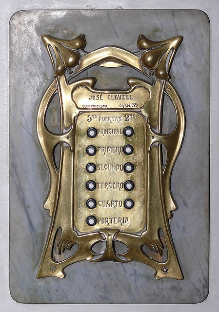 Why does my doorbell not look like this!!>>Incredible Art Nouveau doorbell or early intercom. Barcelona
