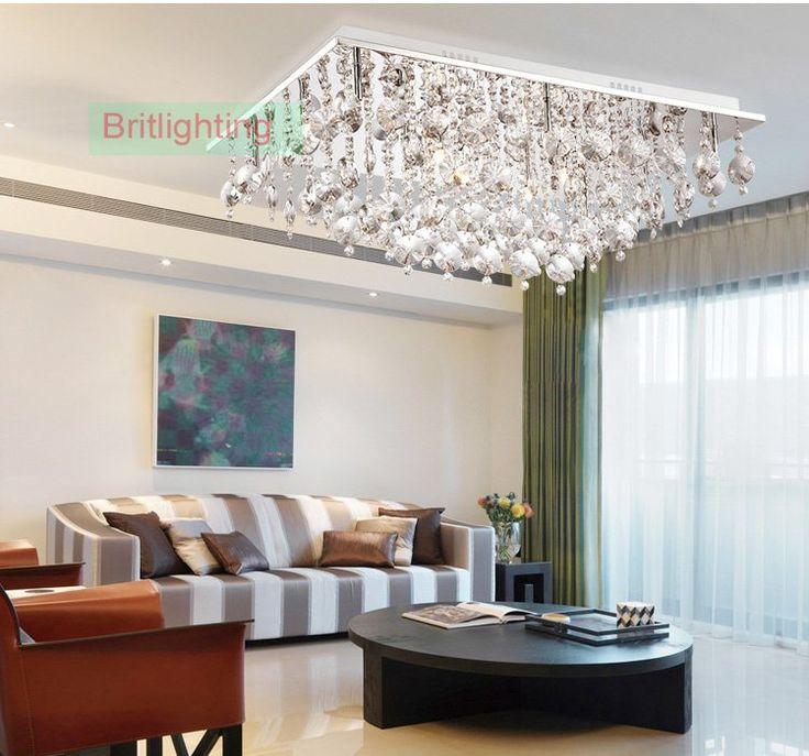 Кристалл Заподлицо Потолочные светильники спальня crystal потолочное освещение современные светодиодные потолочные светильники прямоугольник современные потолочные лампы кристалл