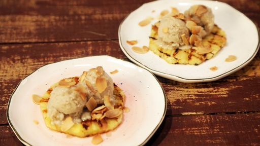 Banana Ice Cream with Grilled Pineapple Recipe   The Chew - ABC.com