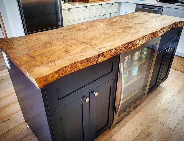 Live Edge Maple Kitchen Island Top We Did For A Client Our Kiln Dried And Flattened Live Edge S Kitchen Island Tops Wood Kitchen Island Kitchen Without Island
