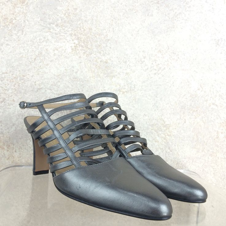 Vintage 90s COUTURE Cage-Front Pewter Shoes, NOS