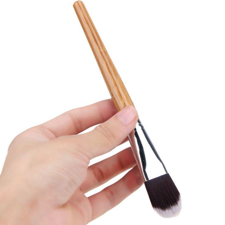 Spazzola Maschera per il viso Donna Attrezzo di Trucco Cosmetico Fondazione Capelli della Fibra Pennello Manico Di Bambù Correttore In Polvere Maschera Viso Pennelli Set