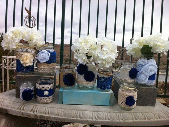 bulk wedding decorations blue rustic wedding decor 10 bulk burlap lace jars 2116