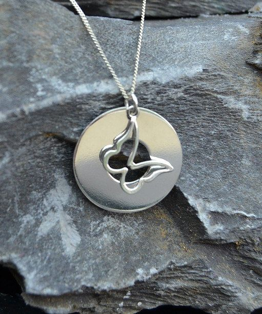 Silver washer pendant with handing butterfly Can have words stamped on it - please contact me