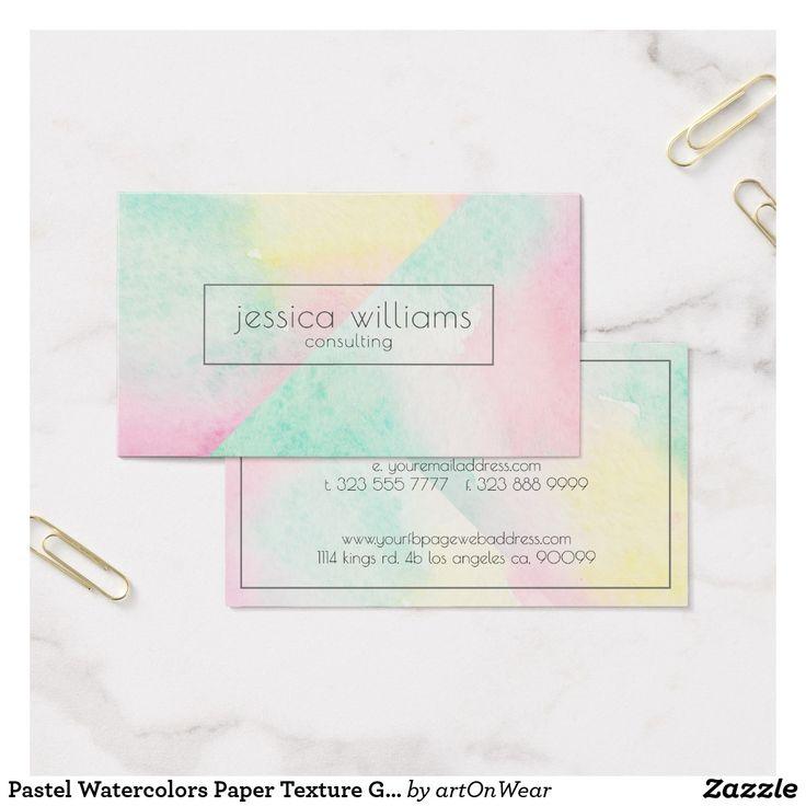 Pastel Watercolors Paper Texture Geometric Design Business Card