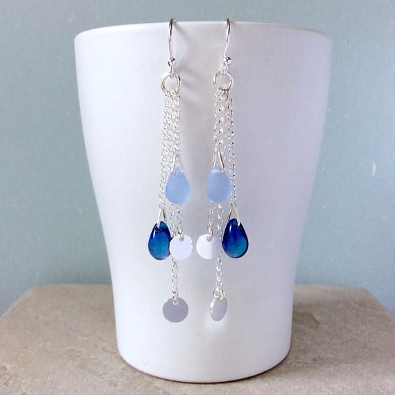 Long silver earrings blue earrings boho earrings hippie