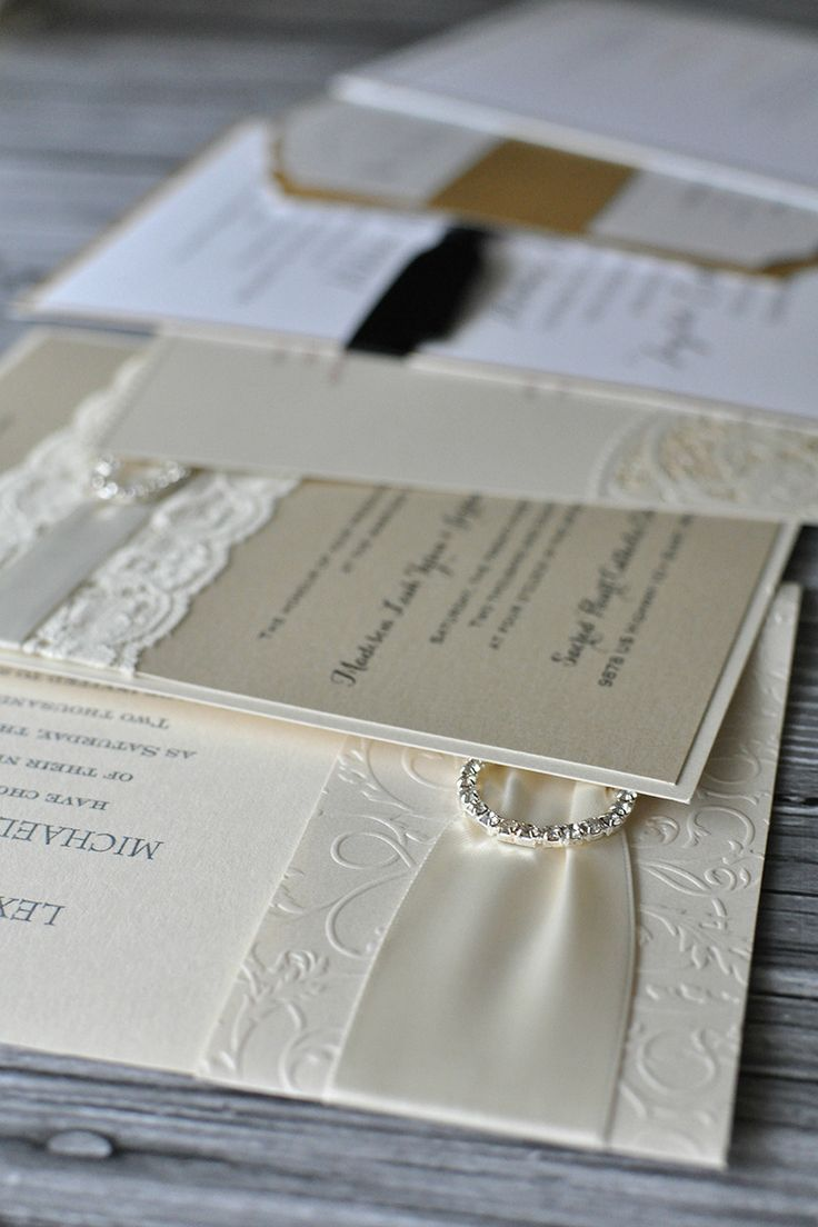 One thing every fairy tale themed wedding needs: embellishments! You'll remember to make sure you dress, hair and even nails all shine. But what about your invitation? Think about the add-ons like lace and rhinestones and details such as embossing, raised-ink printing and shimmer paper. Find the most elegant wedding invitations on Invitations by Dawn.