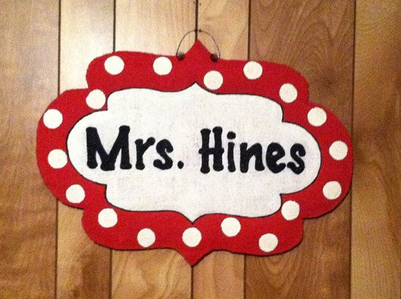 Burlap Door Hanger - Polka Dot Name Sign via Etsy  Maybe this for my door. Looks like a marquee