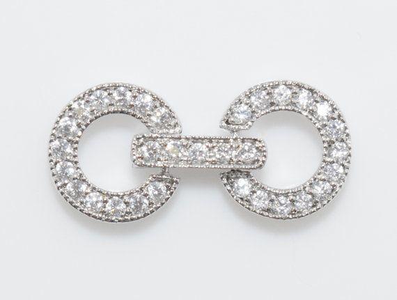 Two Ring Cubic Clasp, Wedding Jewelry, Jewelry Making, Polished Rhodium - 1pcs / UT0028-PR
