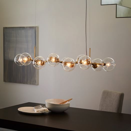 Staggered Glass Chandelier - 12-Light | west elm.  Maybe for the chandelier or the island.