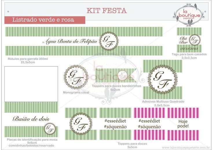 Kit festa listrado verde e rosa