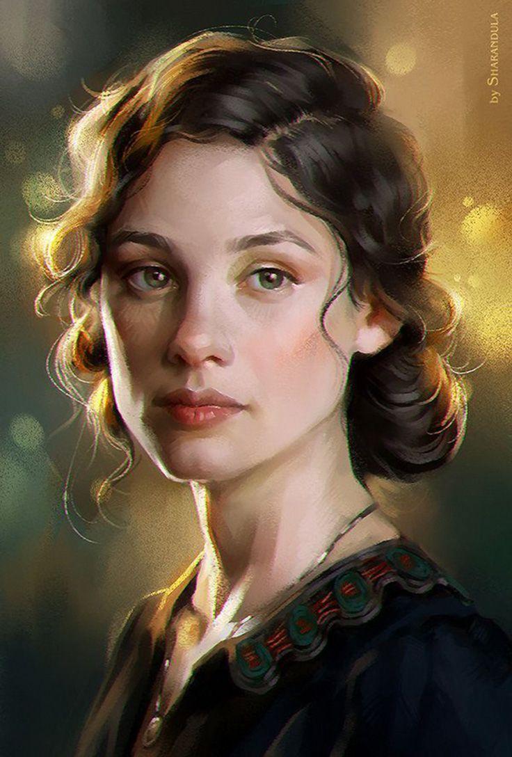 """Astrid Berges-Frisbey"" (study) - Elena Berezina (sharandula) {contemporary figurative artist beautiful female head brunette woman face portrait digital painting #loveart}"