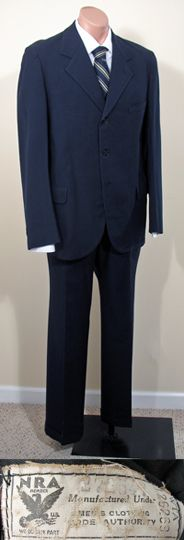 1930s Men's Midnight Blue Suit with NRA Label SZ 39/40
