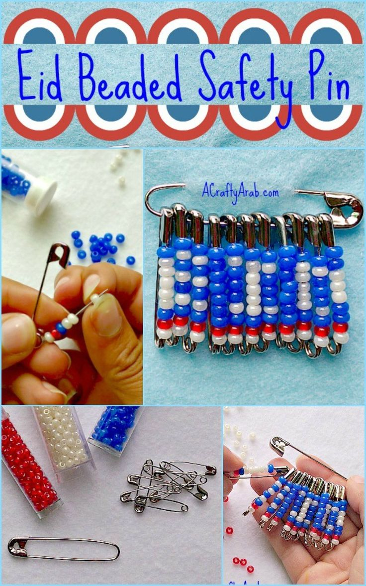 """A Crafty Arab:  Eid Beaded Safety Pin {Tutorial}. Eid Milad Said Amreeka! (Happy Birthday America in Arabic). We are celebrating by creating an Eid* beaded safety pin brooch to wear to tonight's fireworks show.   All three of my girls are in Girl Scouts and spent a lot of their time crafting SWAPs, """"Special Whatchamacallits Affectionately Pinned Somewhere."""" These small treasured prizes are …"""