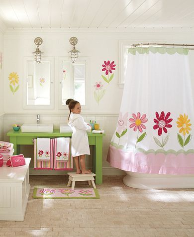 PBK - Can't go wrong! Flower bathroom decor adds color and whimsy.