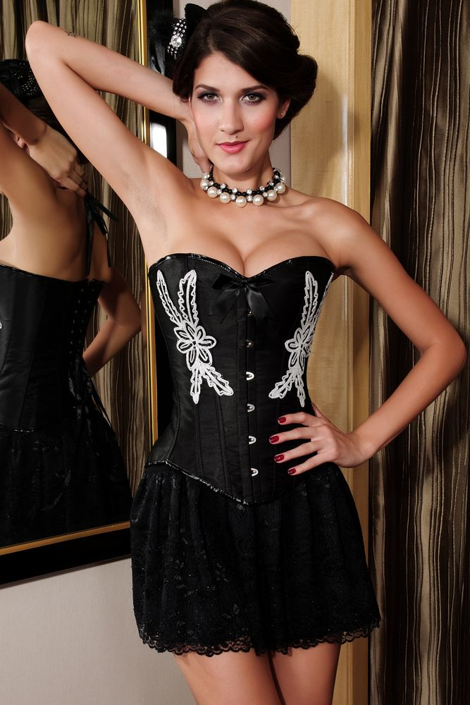 Black Floral Embroidery Corset