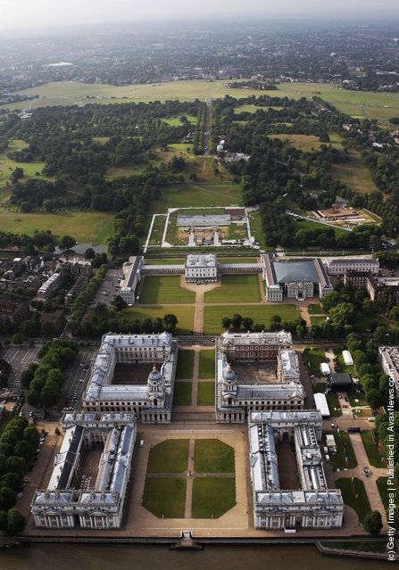 An Aerial view of Royal Observatory, National Maritime Museum and Queen's House in Greenwich Park on July 26, 2011 in London, England. (Photo by Tom Shaw/Getty Images)