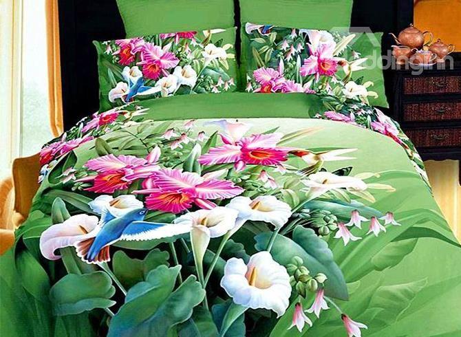 New Arrival Multicoloured Flowers 4 Piece Cotton Bedding Sets on sale, Buy Retail Price Floral Bedding Sets at Beddinginn.com