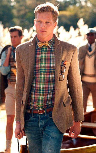 Love, love, love old paired with new. Tattered jeans and a sweet tweed blazer. Plaid... always.Men Clothing, Bows Ties, Bow Ties, Street Style, Jackets, Men Fashion, Men'S Fashion, Bowties, Plaid Shirts