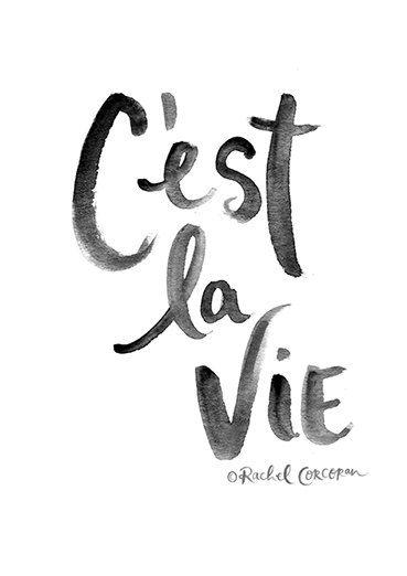 C'EST LA VIE Typographic Print Hand Lettering by Rachillustrates
