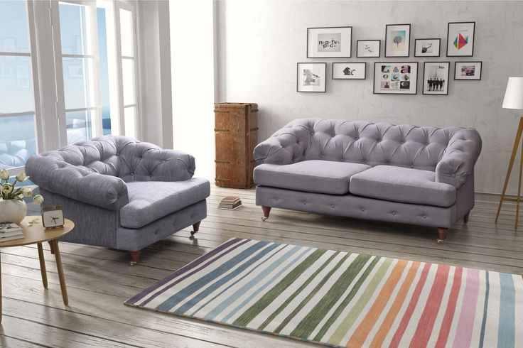 The Linen Chesterfield Sofa offers a subtle statement of style and adds an element of class to any room it is placed in. The neutral yet rich colours make it a