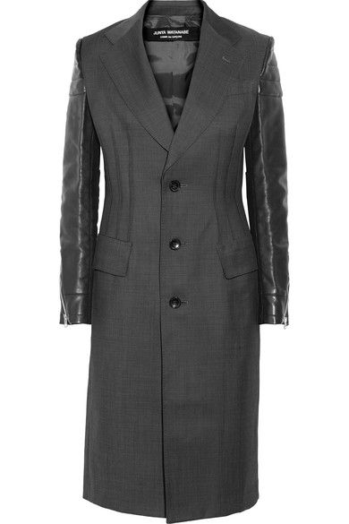 Junya Watanabe - Quilted Faux Leather-paneled Wool Jacket - Dark gray -