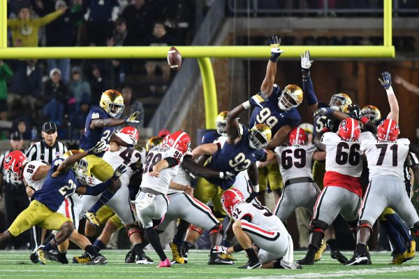 Sep 9, 2017; South Bend, IN, USA; Georgia Bulldogs kicker Rodrigo Blankenship (98) kicks the game winning field goal in the fourth quarter against the Notre Dame Fighting Irish at Notre Dame Stadium. Mandatory Credit: Matt Cashore-USA TODAY Sports