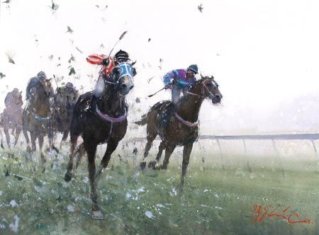 Joseph Zbukvic Horse Races Watercolor Joseph Zbukvic