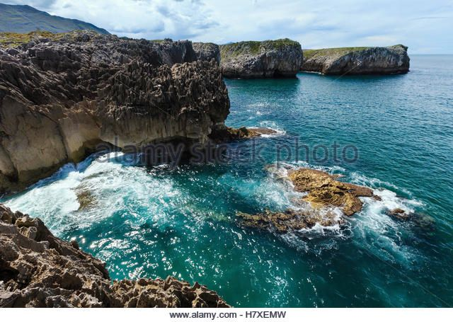 Bay of Biscay summer rocky coast view, Spain, Asturias, near Camango